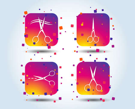 Scissors icons. Hairdresser or barbershop symbol. Scissors cut hair. Cut dash dotted line. Tailor symbol. Colour gradient square buttons. Flat design concept. Vector Standard-Bild - 111103068