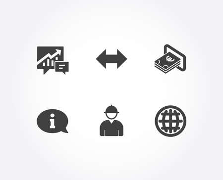 Set of Cash, Engineer and Information icons. Sync, Accounting and Globe signs. Atm payment, Worker profile, Info center. Synchronize, Supply and demand, Internet world.  Quality design elements