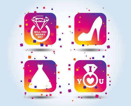Wedding dress icon. Womens shoe symbol. Wedding or engagement day ring with diamond sign. Will you marry me? Colour gradient square buttons. Flat design concept. Vector