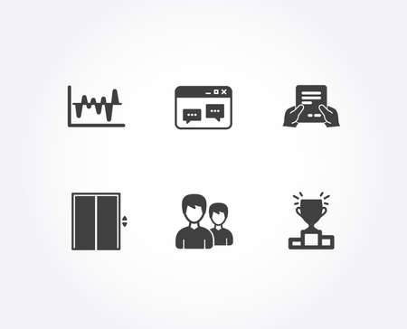 Set of Browser window, Couple and Receive file icons. Stock analysis, Lift and Winner podium signs. Website chat, Two male users, Hold document. Business trade, Elevator, Competition results. Vector Illustration