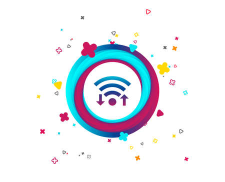 Wifi signal sign. Wi-fi upload, download symbol. Wireless Network icon. Internet zone. Colorful button with icon. Geometric elements. Vector