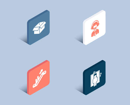 Set of Opened box, Shipping support and Escalator icons. Elevator sign. Shipping parcel, Delivery manager, Elevator. Lift.  3d isometric buttons. Flat design concept. Vector