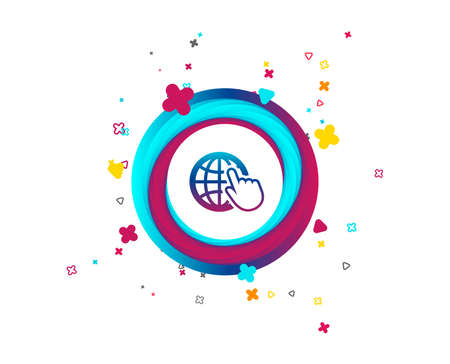 Internet sign icon. World wide web symbol. Cursor pointer. Colorful button with icon. Geometric elements. Vector