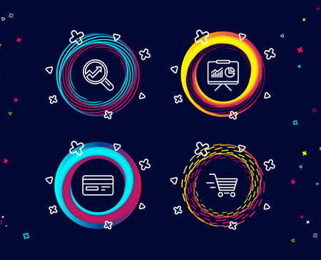 Set of Credit card, Presentation and Analytics icons. Delivery shopping sign. Card payment, Board with charts, Audit analysis. Online buying.  Circle banners with line icons. Gradient colors shapes