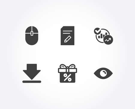 Set of Computer mouse, Downloading and Statistics icons. Edit document, Discount offer and Eye signs. Pc equipment, Load information, Report charts. Page with pencil, Gift box, View or vision. Vector