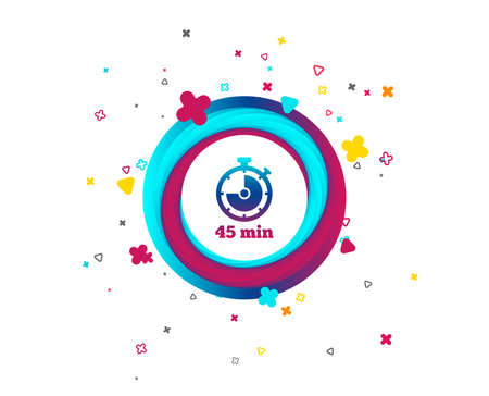 Timer sign icon. 45 minutes stopwatch symbol. Colorful button with icon. Geometric elements. Vector Ilustração
