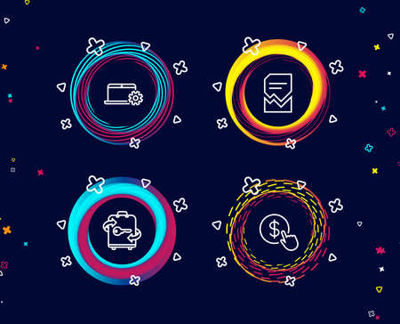 Set of Notebook service, Luggage and Corrupted file icons. Buy currency sign. Computer repair, Baggage locker, Damaged document. Money exchange.  Circle banners with line icons. Gradient colors shapes Stock Vector - 107136933