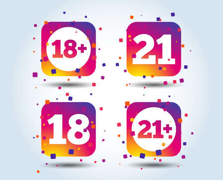 Adult content icons. Eighteen and twenty-one plus years sign symbols. Colour gradient square buttons. Flat design concept. Vector Çizim
