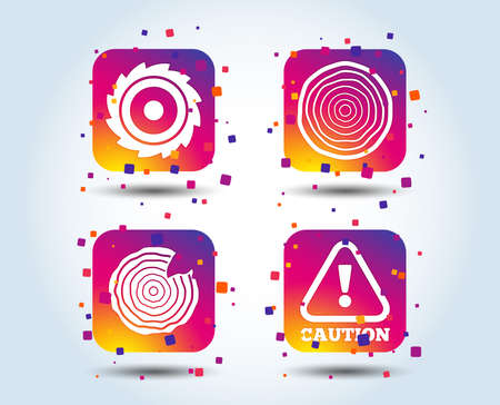 Wood and saw circular wheel icons. Attention caution symbol. Sawmill or woodworking factory signs. Colour gradient square buttons. Flat design concept. Vector Standard-Bild - 111103081