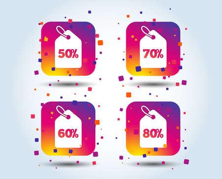 Iconos de etiqueta de precio de venta. Símbolos de oferta especial de descuento. Signos de descuento del 50%, 60%, 70% y 80% por ciento. Botones cuadrados degradados de color. Concepto de diseño plano. Vector