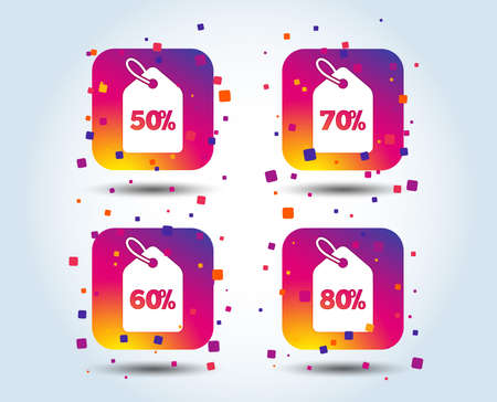 Sale price tag icons. Discount special offer symbols. 50%, 60%, 70% and 80% percent discount signs. Colour gradient square buttons. Flat design concept. Vector