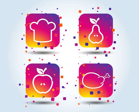 Food icons. Apple and Pear fruits with leaf symbol. Chicken hen bird meat sign. Chef hat icons. Colour gradient square buttons. Flat design concept. Vector