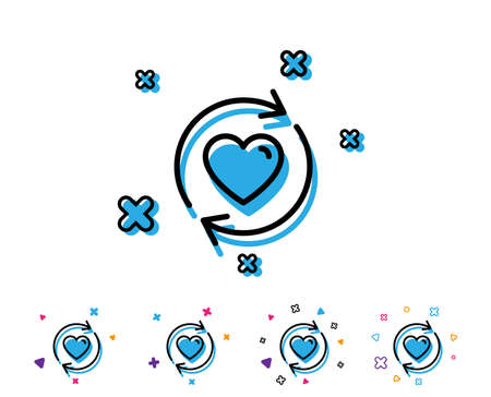 Update relationships line icon. Love dating symbol. Valentines day sign. Line icon with geometric elements. Bright colourful love design. Vector