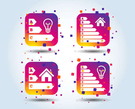 Energy efficiency icons. Lamp bulb and house building sign symbols. Colour gradient square buttons. Flat design concept. Vector 向量圖像