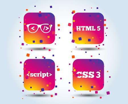 Programmer coder glasses icon. HTML5 markup language and CSS3 cascading style sheets sign symbols. Colour gradient square buttons. Flat design concept. Vector