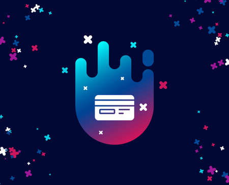 Credit card simple icon. Bank payment method sign. Online Shopping symbol. Cool banner with icon. Abstract shape with gradient. Vector