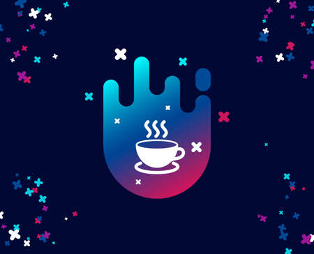 Coffee drink simple icon. Hot cup sign. Fresh beverage symbol. Cool banner with icon. Abstract shape with gradient. Vector