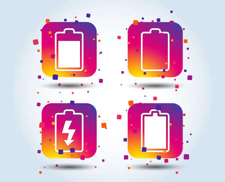 Battery charging icons. Electricity signs symbols. Charge levels: full, empty. Colour gradient square buttons. Flat design concept. Vector Illusztráció