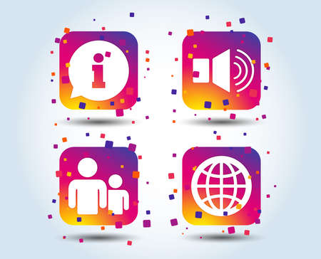 Information sign. Group of people and speaker volume symbols. Internet globe sign. Communication icons. Colour gradient square buttons. Flat design concept. Vector