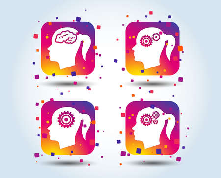 Head with brain icon. Female woman think symbols. Cogwheel gears signs. Colour gradient square buttons. Flat design concept. Vector