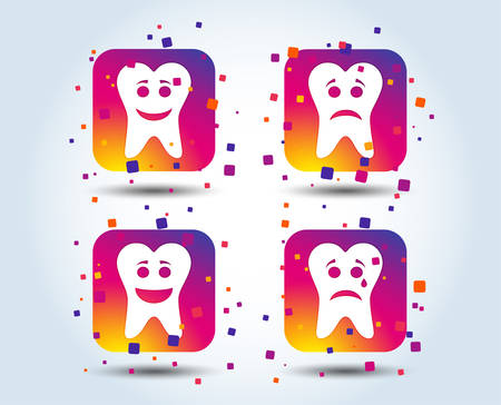 Tooth smile face icons. Happy, sad, cry signs. Happy smiley chat symbol. Sadness depression and crying signs. Colour gradient square buttons. Flat design concept. Vector