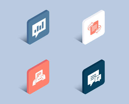 Set of Receive file, Marketing and Analytical chat icons. Comment sign. Hold document, Article, Communication speech bubble. Talk bubbles.  3d isometric buttons. Flat design concept. Vector