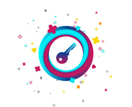 Key sign icon. Unlock tool symbol. Colorful button with icon. Geometric elements. Vector Illustration
