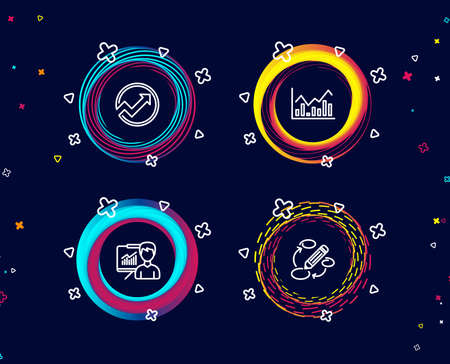 Set of Audit, Infochart and Presentation icons. Keywords sign. Arrow graph, Stock exchange, Education board. Marketing strategy.  Circle banners with line icons. Gradient colors shapes. Vector Illustration