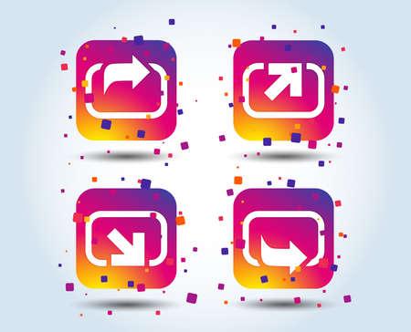 Action icons. Share symbols. Send forward arrow signs. Colour gradient square buttons. Flat design concept. Vector 일러스트