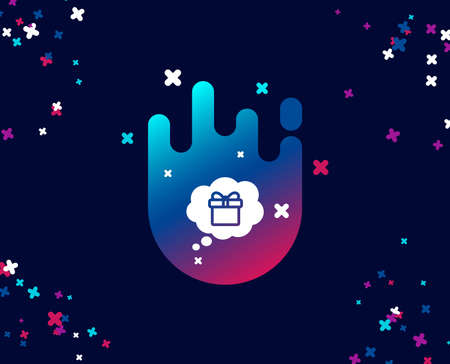 Dreaming of Gift simple icon. Present box in Comic speech bubble sign. Birthday Shopping symbol. Package in Gift Wrap. Cool banner with icon. Abstract shape with gradient. Vector