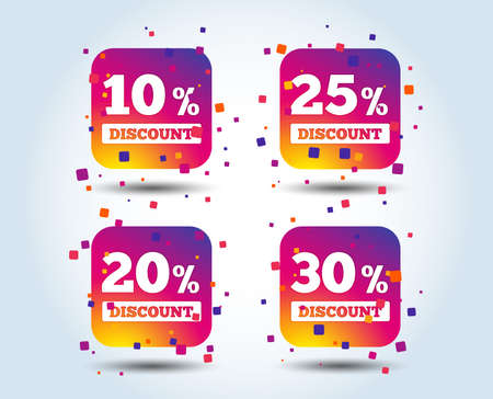 Sale discount icons. Special offer price signs. 10, 20, 25 and 30 percent off reduction symbols. Colour gradient square buttons. Flat design concept. Vector Illustration