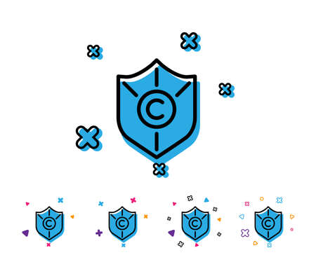 Copyright protection line icon. Copywriting sign. Shield symbol. Line icon with geometric elements. Bright colourful design. Vector 向量圖像