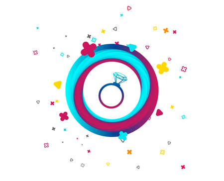 Ring sign icon. Jewelry with diamond symbol. Wedding or engagement day symbol. Colorful button with icon. Geometric elements. Vector  イラスト・ベクター素材