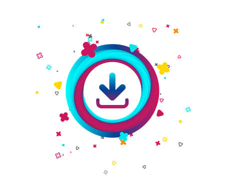 Download icon. Upload button. Load symbol. Colorful button with download icon. Geometric elements. Vector