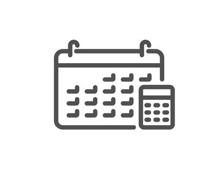 Calendar with calculator line icon. Accounting sign. Calculate finance symbol. Quality design element. Classic style. Editable stroke. Vector