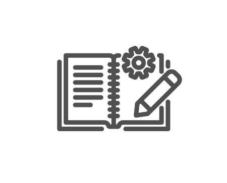 Engineering documentation line icon. Technical instruction sign. Quality design element. Classic style. Editable stroke. Vector Vektorgrafik