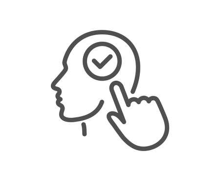 Head line icon. Select user sign. Checkbox symbol. Quality design element. Classic style. Editable stroke. Vector Illustration
