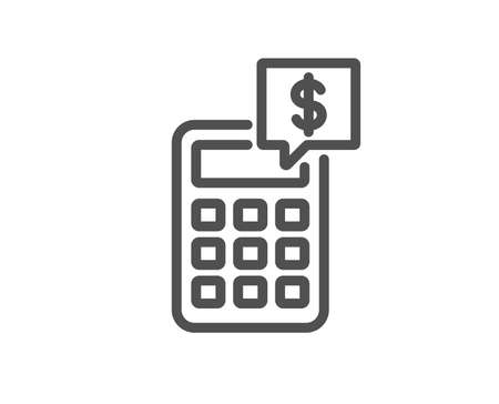 Calculator line icon. Accounting sign. Calculate finance symbol. Quality design element. Classic style. Editable stroke. Vector Illustration
