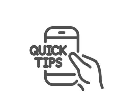 Quick tips on phone line icon. Helpful tricks sign. Internet tutorials symbol. Quality design element. Classic style. Editable stroke. Vector