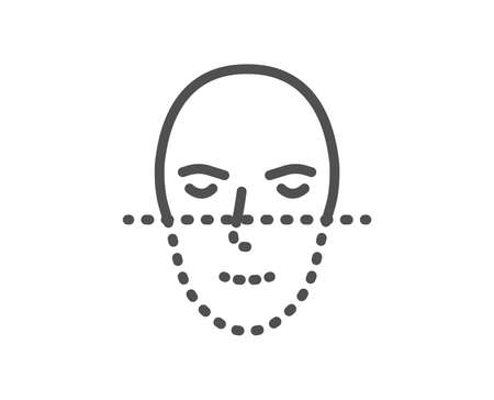 Face recognition line icon. Faces biometrics sign. Head scanning symbol. Quality design element. Classic style recognition. Editable stroke. Vector