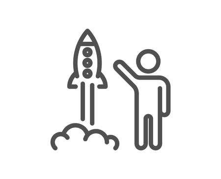 Launch project line icon. Startup rocket sign. Innovation symbol. Quality design element. Classic style launch project. Editable stroke. Vector