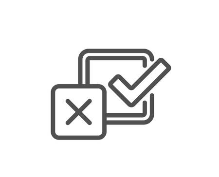 Checkbox line icon. Survey choice sign. Business review symbol. Quality design element. Classic style. Editable stroke. Vector