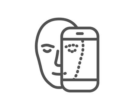 Face biometrics line icon. Facial recognition by phone sign. Head scanning symbol. Quality design element. Classic style face id. Editable stroke. Vector 写真素材 - 111103139
