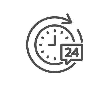 24 hours delivery line icon. Time or stopwatch sign. Quality design element. Classic style. Editable stroke. Vector
