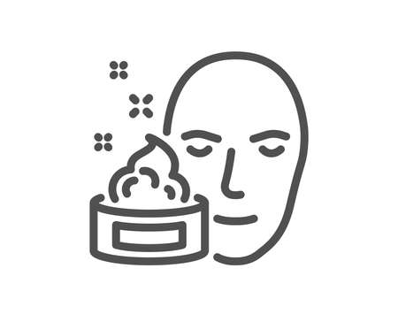 Face cream line icon. Skin care lotion sign. Cosmetics symbol. Quality design element. Classic style facial cream. Editable stroke. Vector Illustration