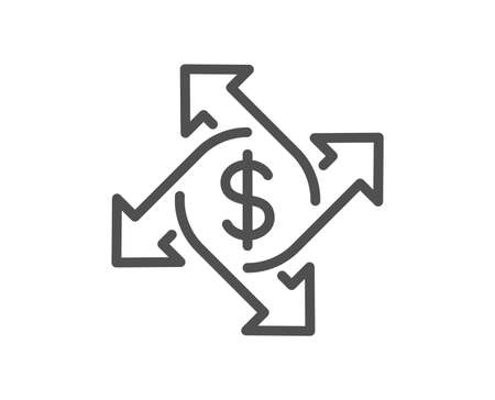 Payment exchange line icon. Dollar sign. Finance transfer symbol. Quality design element. Classic style. Editable stroke. Vector