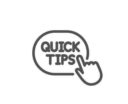 Quick tips click line icon. Helpful tricks sign. Quality design element. Classic style. Editable stroke. Vector