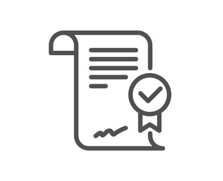 Approved agreement line icon. Verified document sign. Accepted or confirmed symbol. Quality design element. Classic style. Editable stroke. Vector