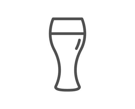 Beer glass line icon. Pub Craft beer sign. Brewery beverage symbol. Quality design element. Classic style glass. Editable stroke. Vector