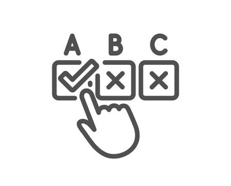 Correct checkbox line icon. Select answer sign. Business test symbol. Quality design element. Classic style. Editable stroke. Vector Illustration